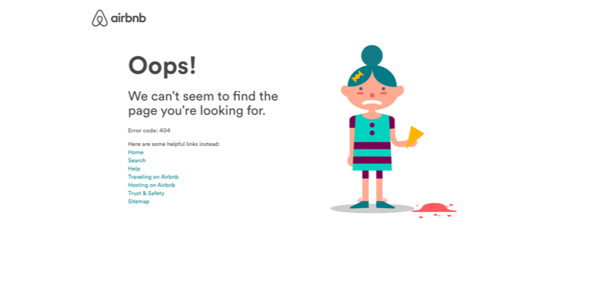Screenshot of Airbnb's 404 Page