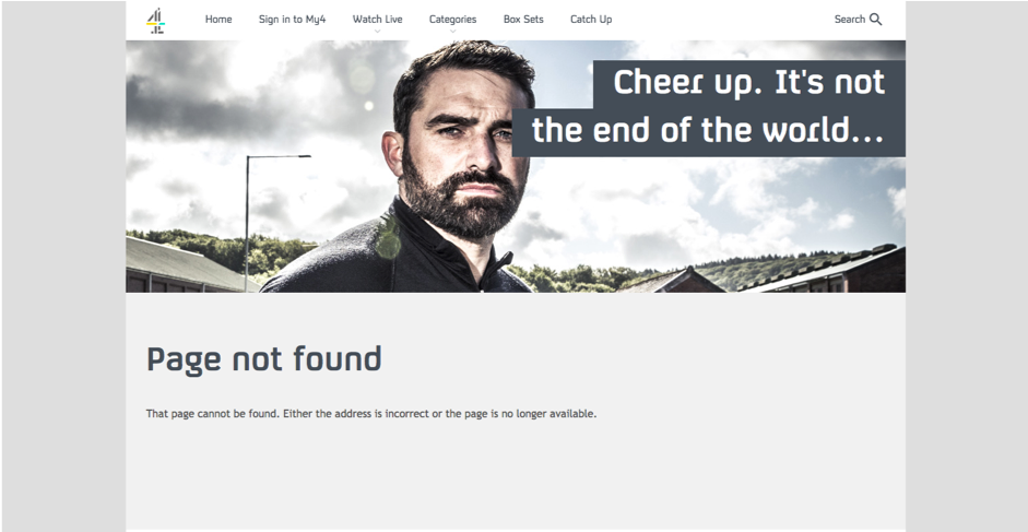 Screenshot of Channel 4's 404 Page