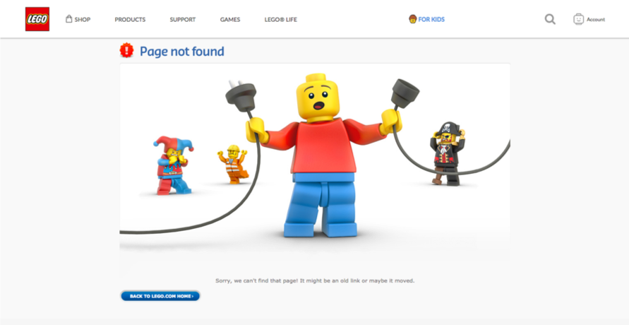 Screenshot of Lego's 404 Page