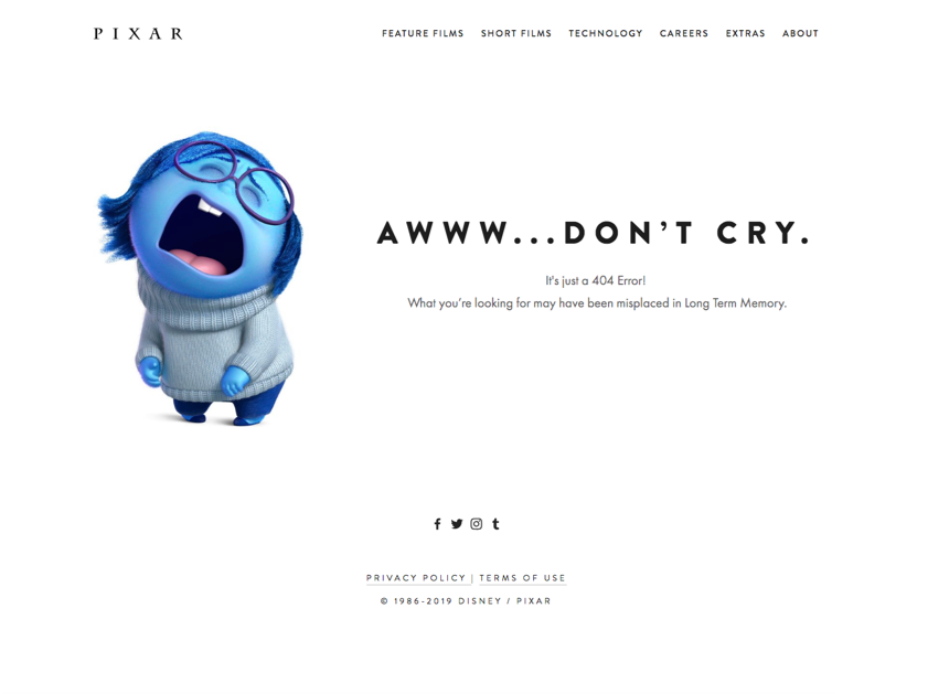 Screenshot of Pixar's 404 Page