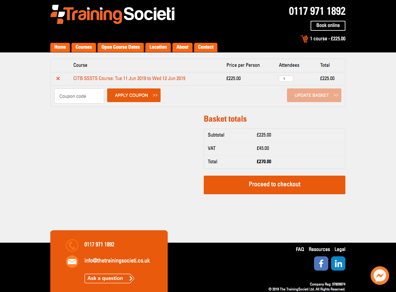 Training Societi Booking