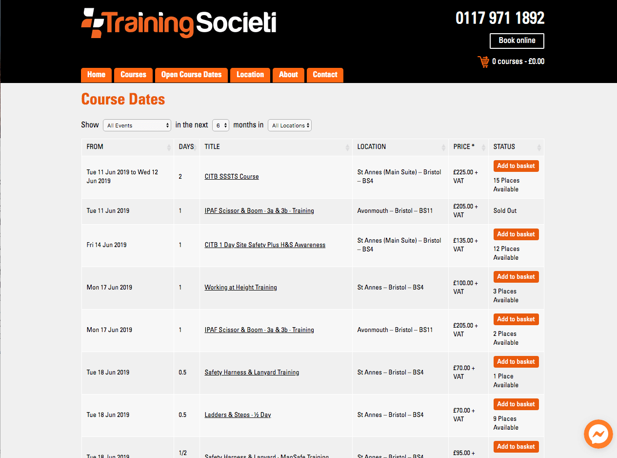 Training Societi Dates