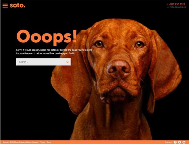 Screenshot of Soto 404 page