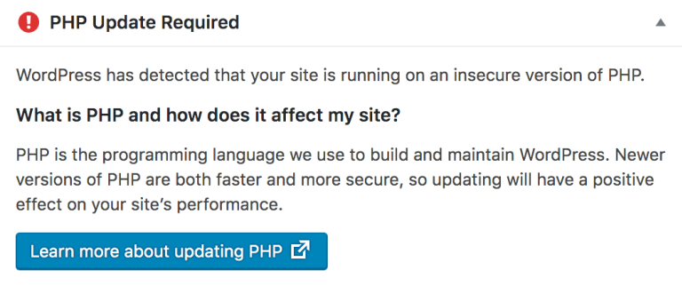 PHP Update Notice