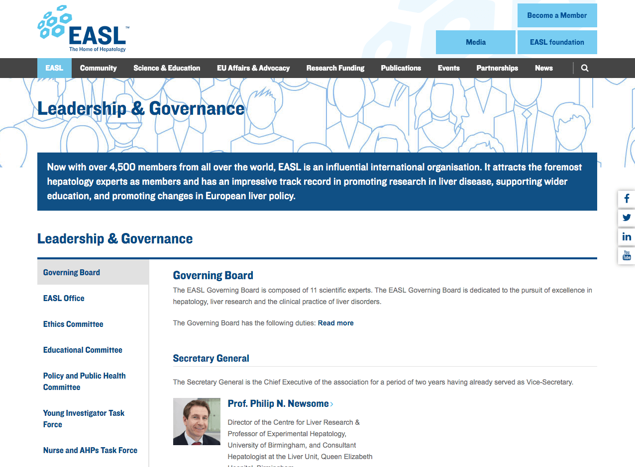 EASL Leadership page