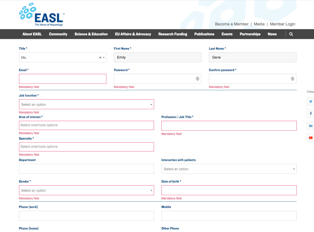 EASL become a member form